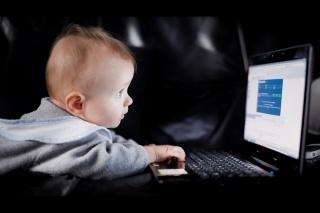 child, baby, boy, we all, do, laptop, interest, evening, the dark background, positive