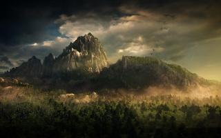 фентезі, природа, фотошоп, арт, ліс, гори, хмари