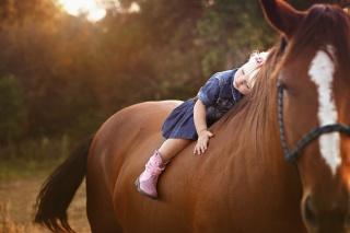 дитина, дівчинка, верхи, кінь, кінь, дружба, позитив, природа