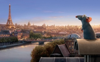 Ratatouille, on the background of Paris, cartoon