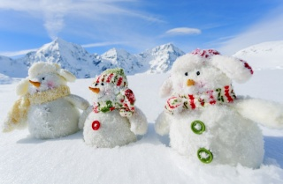 nature, snowmen, mountains, winter, snow, White snowmans