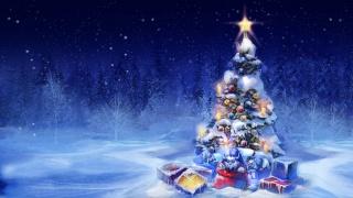 art, fantasy, obraz, zima, les, Nový rok, vánoční strom, dárky, 2015