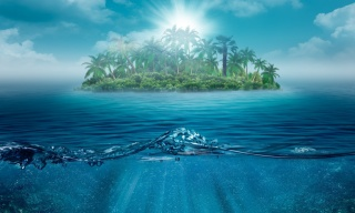 summer, island, fantasy, Oasis, water, the sky, photoshop, palm trees, the sun, beautiful