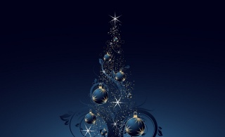 Nový rok, art, fantasy, vánoční strom, tmavé pozadí