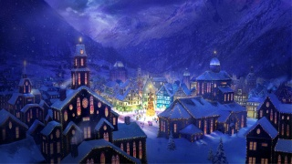 christmas, light, city, winter, village, snow