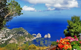 anacapri, Itálie, capry, oceán, stromy