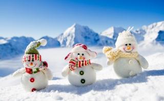 Білі сніговики, фото, позитив, гори, зима, сніг, сніговики, Новий рік, 2015