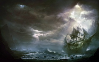 Zničený plachetnice, moře, člověk, bouře