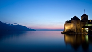 hrad, jezero