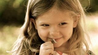 посмішка, особа, очки, краса, квітка, ніжність, радість, емоції