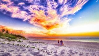 діти, пляж, небо