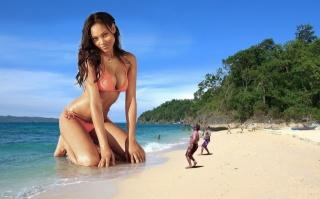 дівчина, пляж, люди