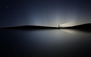maják, světlo, černá, šedá, krajina, nebe, noc, hvězdy