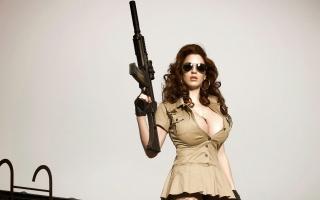 Шпалери зброю, дівчина, очки, автомат, небезпечна зброя.