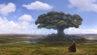 дерево, птахи, чоловік
