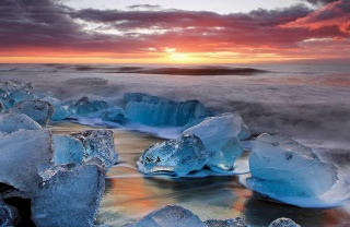 лід, захід, хмари