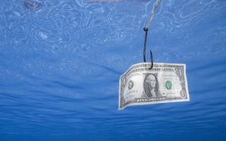 один, доллар, крючок, рыбалка, вода