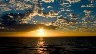 sea, the sky, sunset