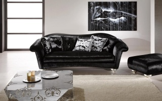 sofa, table, candles, picture