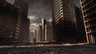місто, чоловік, руїни