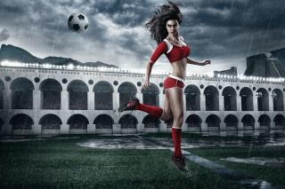 футбол, дівчина, груди, м'яч, фігура, креатив