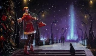арт, ніч, зима, сніг, дівчина, веселощі, ялинка, кішка