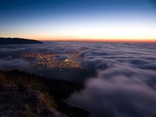 ai-petri, svítání, hory, yalta, Krym, moře, černé moře
