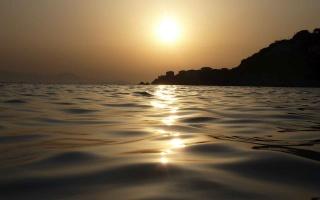 moře, melancholie, ráno, slunce, svítání, břeh