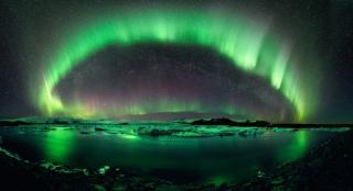 Polární záře, Island, noc, sníh