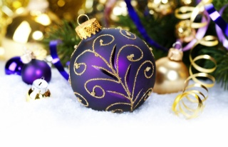 Fialová, sníh, serpentine, míč, vzory, korálek, zlaté