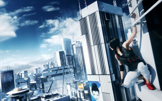Mirrors Edge 2, Faith Connors, skyscrapers, clouds, the sky