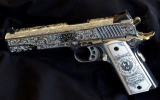 the gun, Ruger, usa, engraving, the dark background