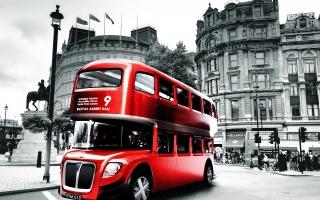 město, londýn, autobus, budova