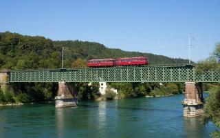 поїзд, міст, річка, ліс, гори