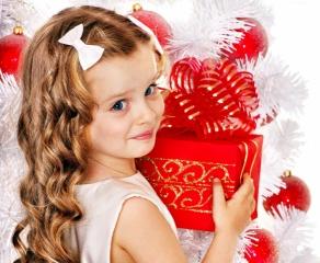 Červená, Nový rok, dárek, děti, dívka, nový rok, vánoční