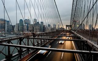 město, most, Auto, řeka