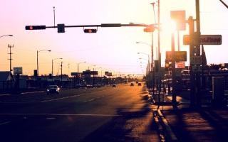 město, západ slunce, město při západu slunce, ulice