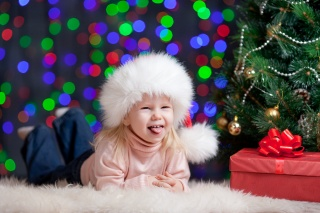 child, tree, joy, Christmas decorations, girl