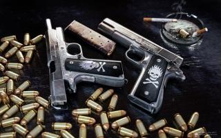 guns, bullets, skull, ashtray, cigarette