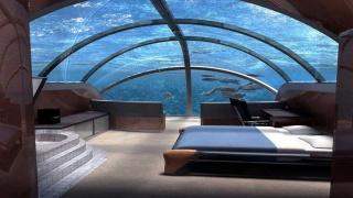 Мальдивы, курорт, отдых, комната, обстановка, Отель, кровать, потолок, стекло, вода, красота, рыбы