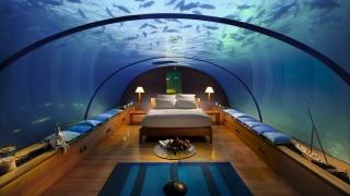 Мальдивы, курорт, отдых, комната, кровать, светильники, потолок, вода, обстановка, красота