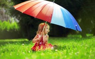 deštník, dítě, park, dívka, pozitivní, makro