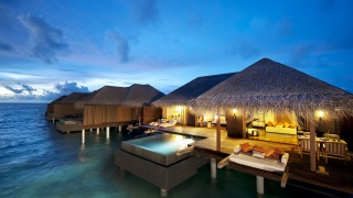 resort, the rest, houses, pool, water, the sky, evening, lights, lighting, beauty