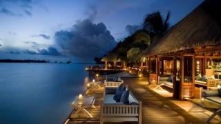 The Maldives, resort, the rest, houses, evening, lights, lighting, the sky, clouds, sunset, water, palm trees, beauty