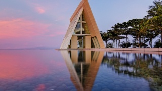 resort, the rest, water, coast, the house, trees, greens, reflection, the sky, sunset, beauty, silence