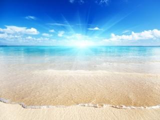 summer, sea, the beach, the sky, the sun, sand
