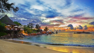 сейшелы, остров, дом, кафе, пляж, природа, океан, небо, закат
