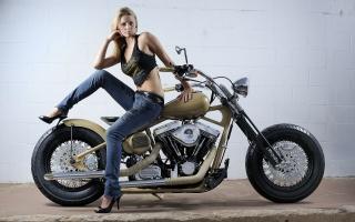 мотоцикл, чопер, девушка, Измельчитель