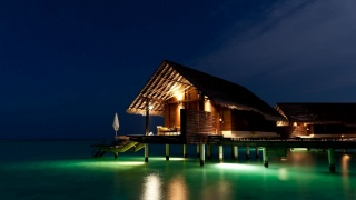 The Maldives, resort, the rest, night, the ocean, water, the house, lighting, lights, reflection, beauty