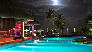 resort, the rest, night, the sky, the moon, houses, pool, lights, lighting, trees, palm trees, beauty